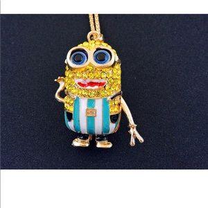 Jewelry - Rhinestone Blue & White Minion Refree Necklace